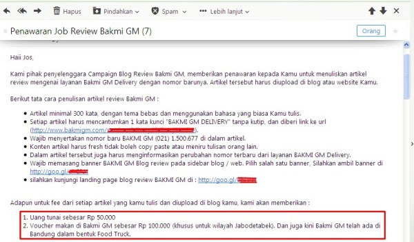 review bakmi GM delivery